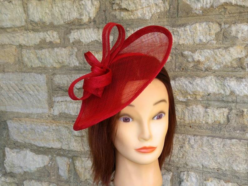 Red wedding hat poppy red fascinator hat on headband wedding image 0