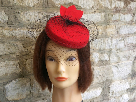 Red pillbox fascinator hat and black birdcage veil wedding hat  54a9e4bb83c
