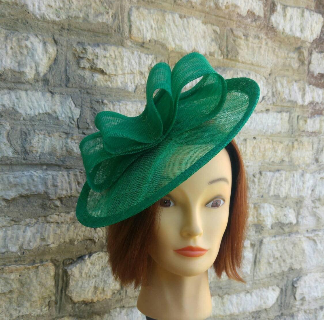 Emerald green wedding hat fascinator hat on headband dark  8762fd7a4f8