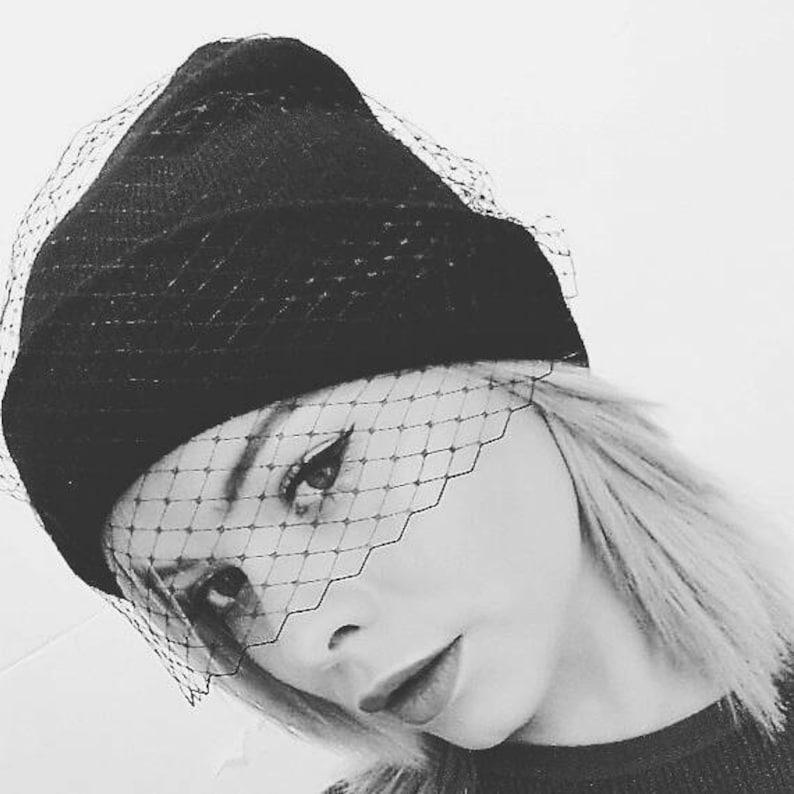 Black beanie hat birdcage veil beanie hat fascinator veil image 0