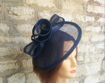 Navy blue Wedding hat wedding fascinator hat races fascinator races hat church hat navy formal hat navy blue  tea party hat