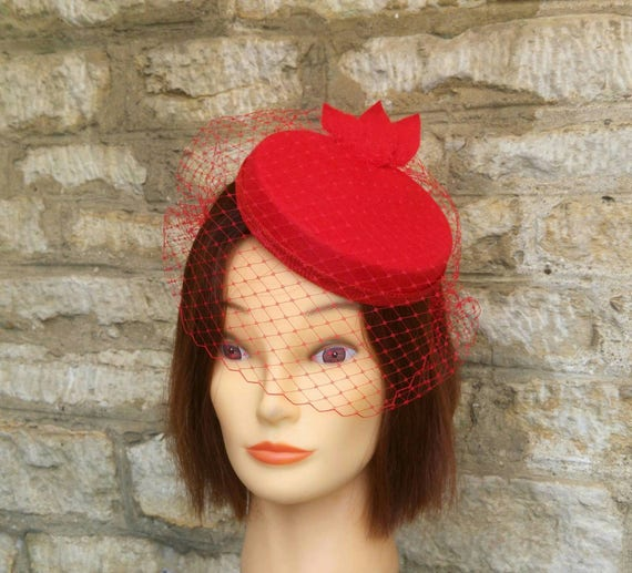 Red pillbox fascinator hat and birdcage veil on headband  18912321a1d