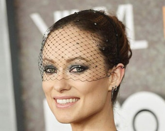 Black headband veil Diamante Crystals black birdcage veil voilette masquerade ball veil bridal headpiece bachelorette veil gatsby fascinator