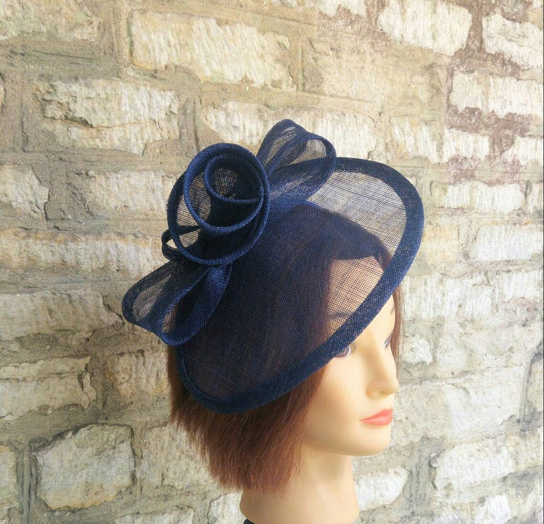 Navy blue Wedding hat wedding fascinator hat races fascinator image 0