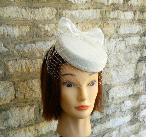 7909b9c5ed3 Ivory white Pillbox hat with mini veil and bow bridal hat off