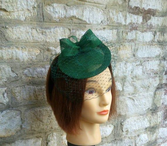 Dark green wedding hat fascinator hat on headband forest green  8a2c61719a2
