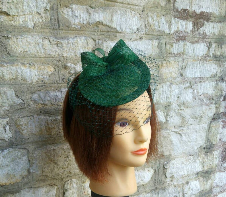 Dark green wedding hat fascinator hat on headband forest green  f383ef036ea