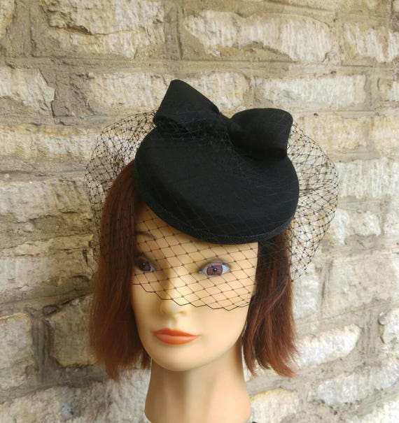 4142925b7db Black Pillbox hat with veil black wool felt cocktail hat bow