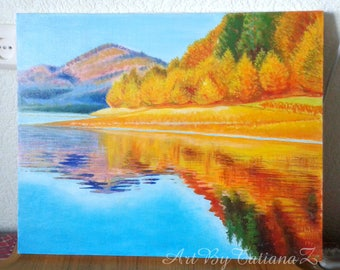 Golden Autumn Original Oil Painting Art Landscape Fall Paysage Artwork Nature Wall Decor Artgift yellow orange blue Gallery Stretched Canvas