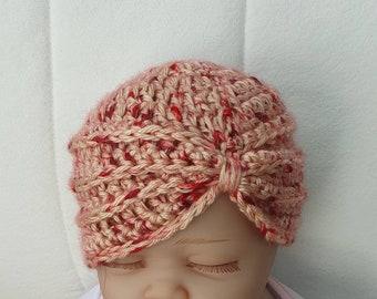 Made in super soft chilli flake yarn Size 0-3 months Baby girls crochet turban hat