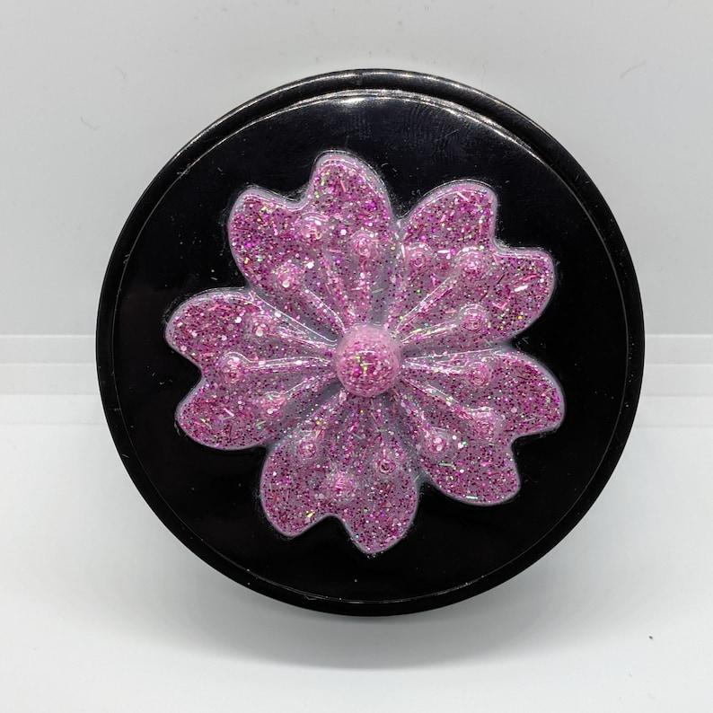 Black and Pink Glitter Jewelry Box Resin Trinket Dish