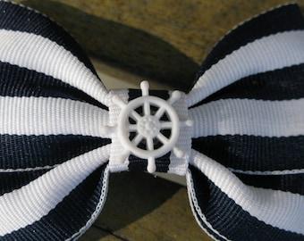Navy Blue/White Double Bow