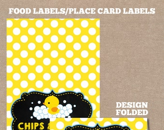 INSTANT DOWNLOAD, Rubber Duck Food Labels, Rubber Duck Place Cards, Buffet Labels, Place Cards, Duck, Baby Shower Food Labels, #0001