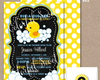 Rubber Duck Baby Shower Invitation, Rubber Ducky Baby Shower, Rubber Duckie, Rubber Duck Invitation, Rubber Duck Invite, Chalkboard #0001