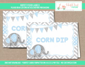 INSTANT DOWNLOAD, Elephant Food Labels, Elephant Place Cards, Buffet Labels, Place Cards, Elephant, Blue, #0007