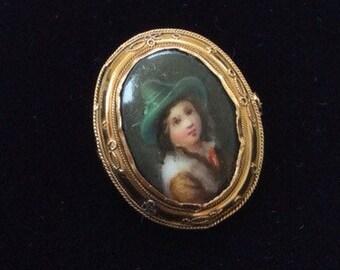 Antique 19th Century Gold Miniature Portrait Brooch