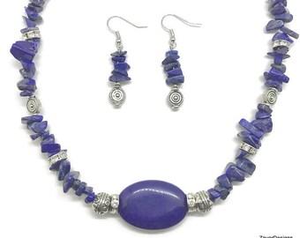 Lapis Lazuli Earrings, Lapis Necklace, Lapis Lazuli Jewelry, Lapis Earring, Lapis Jewelry, Lapis Jewelry Set, Blue Jewelry Set, Blue Jewelry