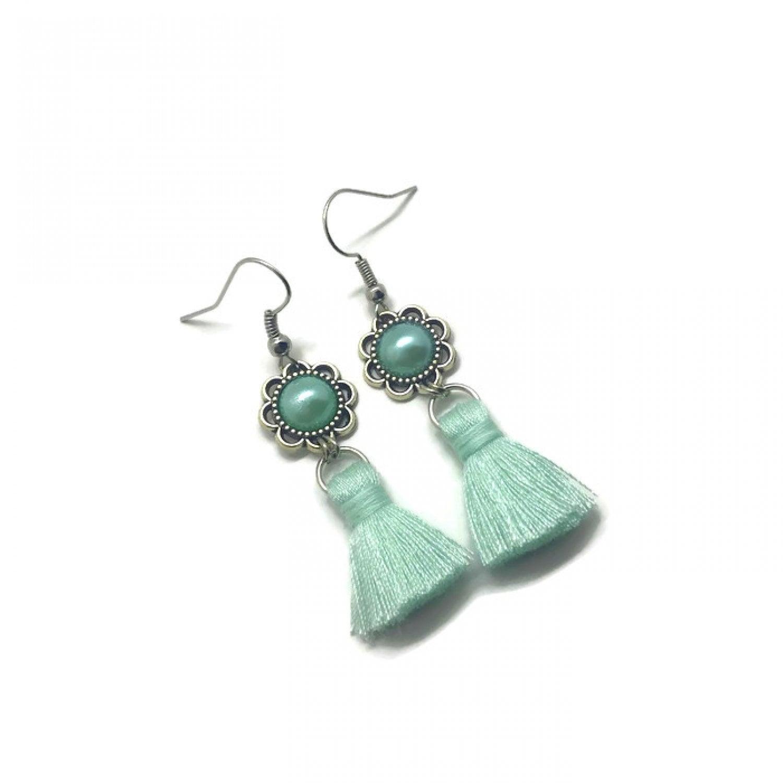 aqua grey modern jewelry silver earrings wedding earrings Mint earrings sea foam blue seafoam green gray dangle earrings clear