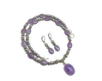 Lavender Amethyst Necklace, Lavender Amethyst Earrings, Amethyst Necklace, Amethyst Jewelry Set, Light Amethyst Earrings, Purple Necklace