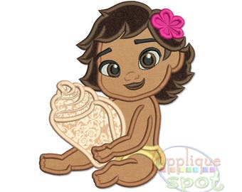 Baby Moana <4 sizes included: 4x4 5x7 6x10 7x12> Applique Design Embroidery Machine -Instant Download File