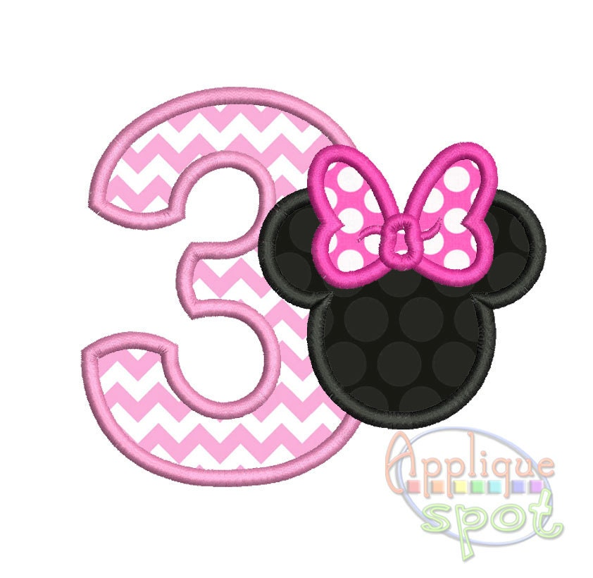 Minnie Silhouette Third 3rd Birthday 3 4x4 5x7 6x10