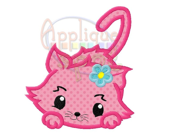 Girly cat baby girl applique design embroidery etsy