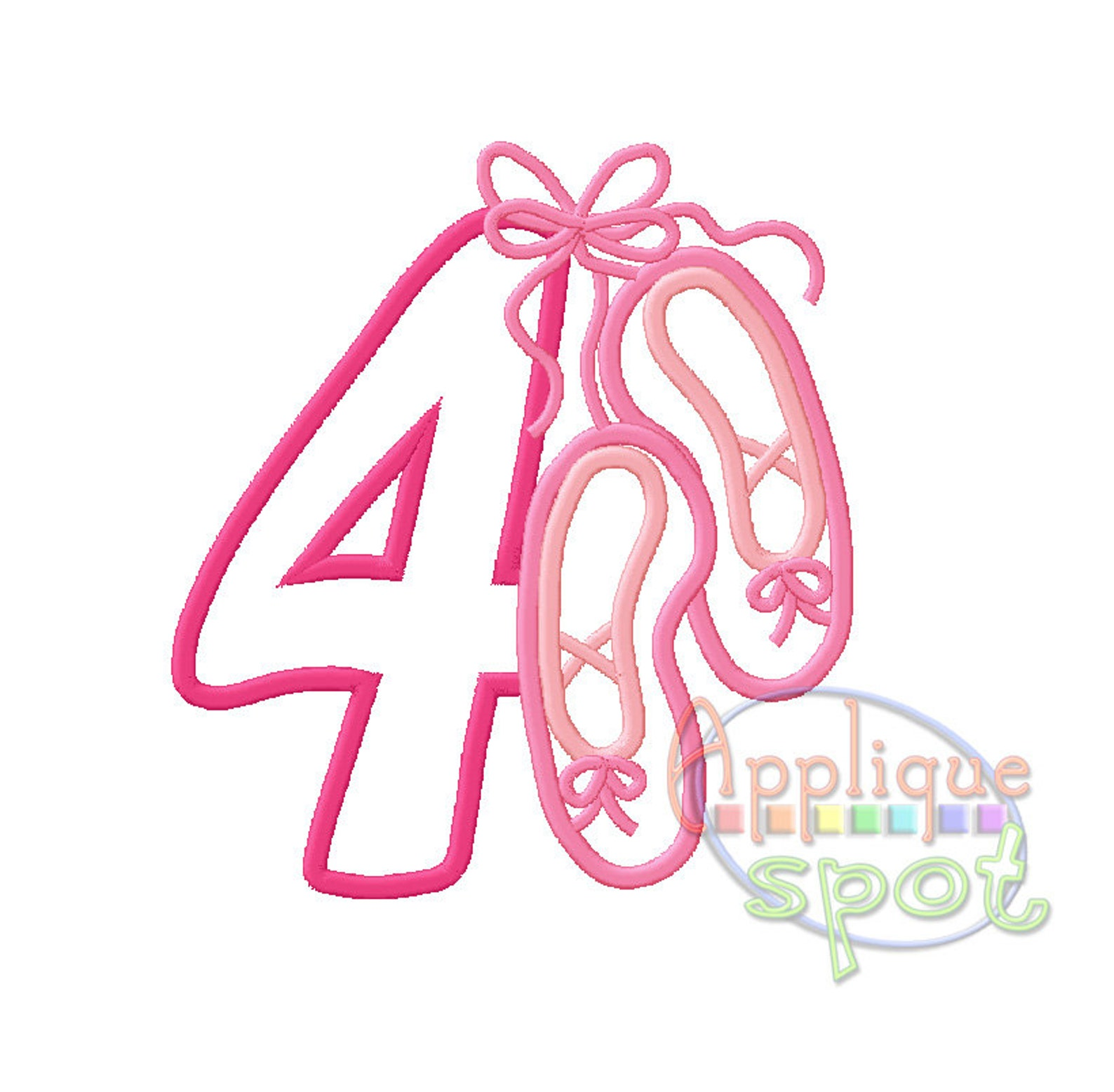ballet fourth 4th birthday baby girl 4 - 4x4 5x7 6x10 applique design embroidery machine -instant download file