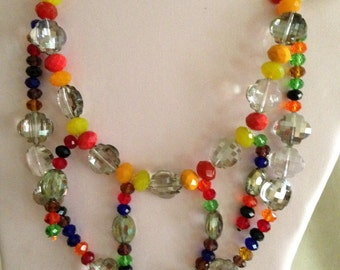 """All glass, faceted, mulicolors,  for 16"""" or smaller neck."""