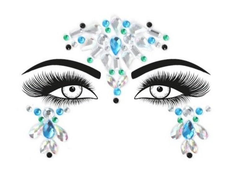 Festival Face Jewels  Blue Crystal Lime Green & Black l image 0