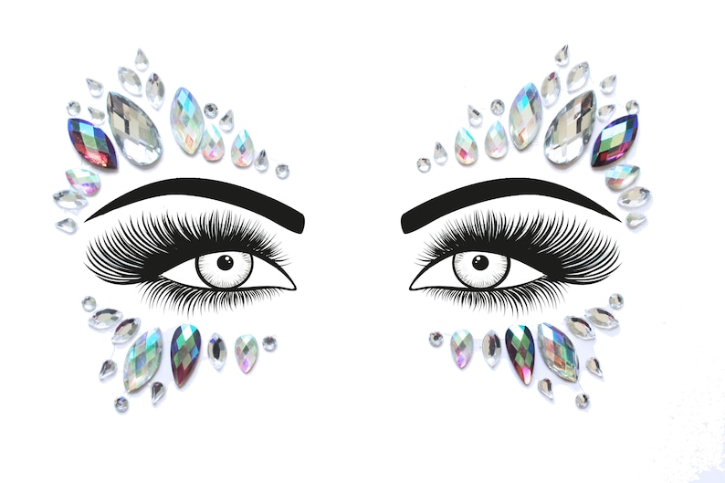 Festival Face Jewels  Crystal Holographic & Purple Face Body image 0