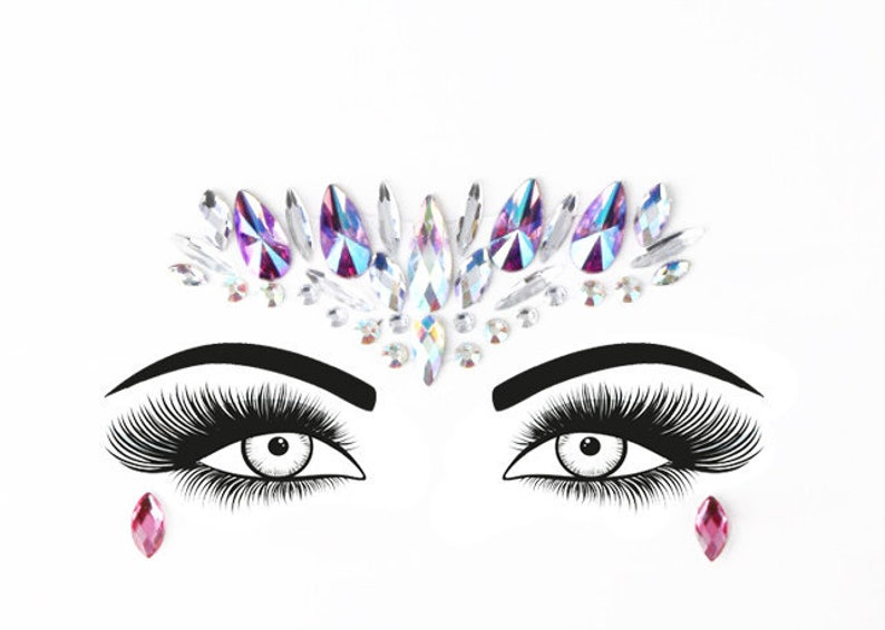 Festival Face Jewels  Purple Holographic Face & Body Jewels image 0
