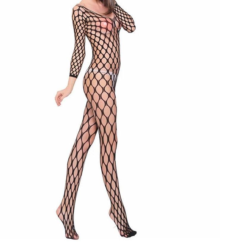 Black Fishnet Tights Full Mesh Bodysuit  l Festival Rave image 0