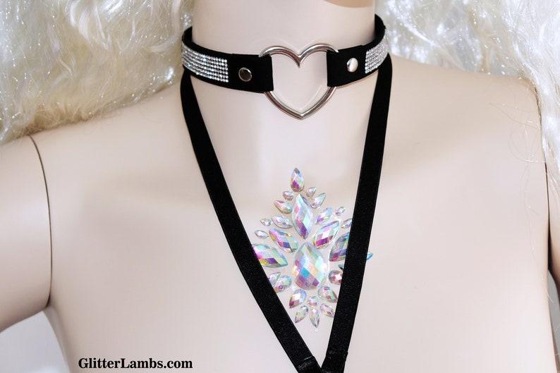 Supplies Jewelry Black Rhinestone Heart Choker Necklace Music Festival EDM Cheap Rave Wear Party Fashion Rave