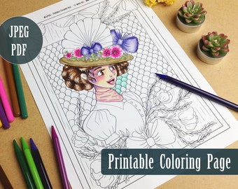 Edith Victorian Girl Printable Coloring Page PDF, Gibson Girl Illustration, Edwardian Hat, Printable Line Art, Coloring Pages by Windy Iris