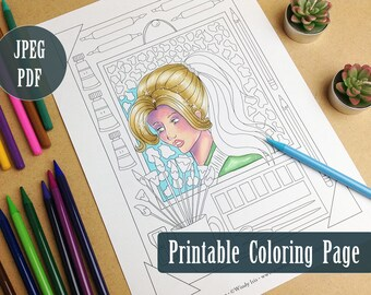 Arty Time Printable Coloring Page PDF, Artist and Art Supplies Illustration to Color, Digital Download Coloring Pages by Windy Iris