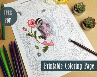 Poppies Girl Printable Coloring Page PDF, Poppy Floral Illustration Line Art to Color, Digital Download Coloring Pages by Windy Iris