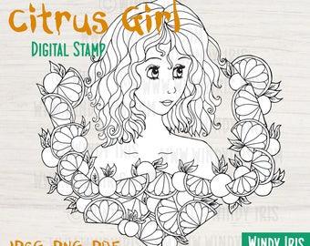 Digital Stamp Citrus Girl Black And White Digi For Mixed Media Scrapbooking Coloring Art Journal Card Making
