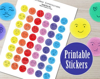 Rainbow Expressions Printable Sticker Sheet PDF of 80 Hand Drawn Stickers, Emoji Clip Art, Digital Download Collage Elements by Windy Iris