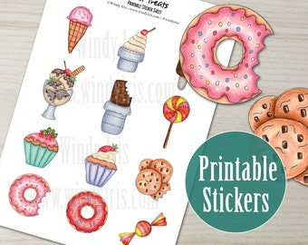 Sweet Treats Printable Sticker Sheet PDF of 12 Hand Drawn Stickers, Candy, Cookies Clip Art  Digital Download Collage Elements by Windy Iris
