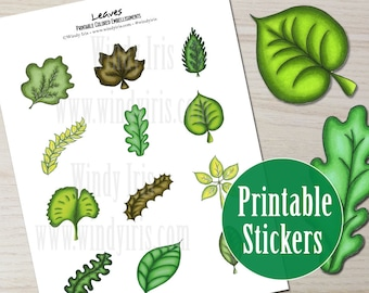 Green Leaves Printable Sticker Sheet PDF of 12 Hand Drawn Nature Stickers, Leaf Clip Art and Digital Download Collage Elements by Windy Iris