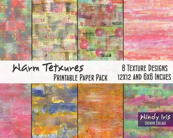 Warm Textures Printable Paper Pack of 8x Colorful Papers 6x6 Inch and 12x12 Inch, Digital Papers and Collage Backgrounds by Windy Iris