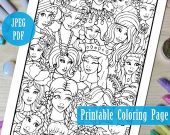 Cute Girls Faces Printable Coloring Page PDF, Girl Illustration Line Art to Color, Digital Download Coloring Pages by Windy Iris