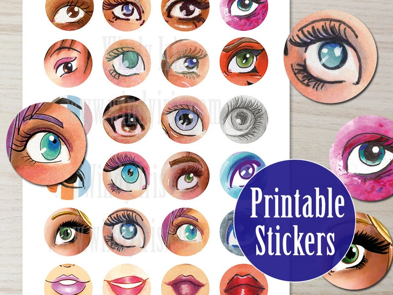 graphic regarding Eyes Printable called Eyes Printable Sticker Sheet PDF of 24 x 1.5 Inch Circle Hand Drawn Eye Stickers, Electronic Obtain Mini Collage Components via Windy Iris