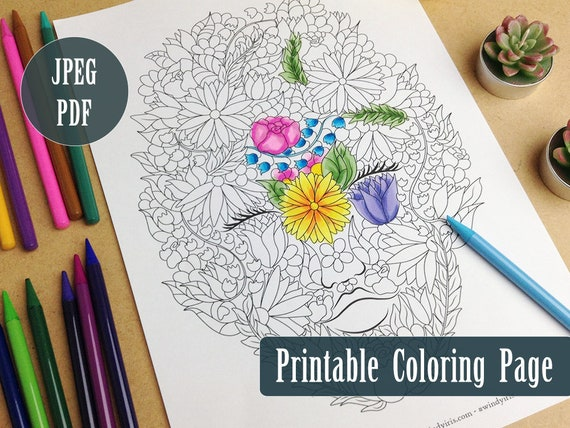 Lady Nature Printable Coloring Page PDF Flowers And Leaves