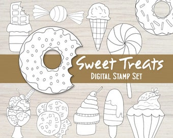Sweet Treats Digital Stamp Set - 12 Black and White Embellishments for your Mixed Media, Scrapbooking, Coloring, Art Journal, Card Making