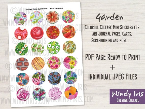 image about Printable Sticker Sheet known as Printable Sticker Sheet PDF of 24 x 1.5 Inch Circles Merged Media Floral Stickers, Electronic Down load Mini Collage Things through Windy Iris