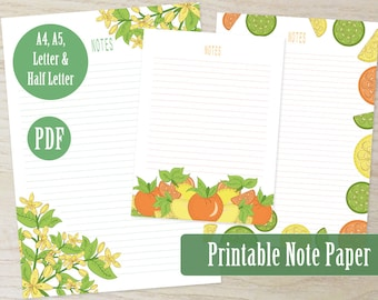 Citrus Garden Printable Note Paper PDF, 3 Designs Writing Paper A4 A5 Letter Paper, Journal and Planner Inserts, Stationery Set - Windy Iris