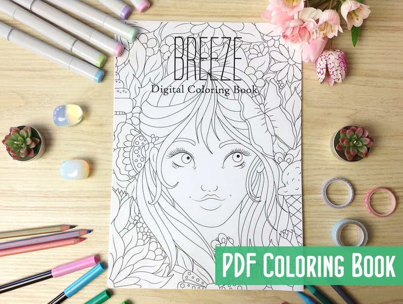 Breeze Digital Coloring Book PDF with 19 Printable Coloring image 0