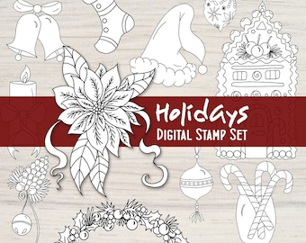 Happy Holidays Digital Stamp Set - 12 Black and White Embellishments for your Mixed Media, Scrapbooking, Coloring, Art Journal, Card Making
