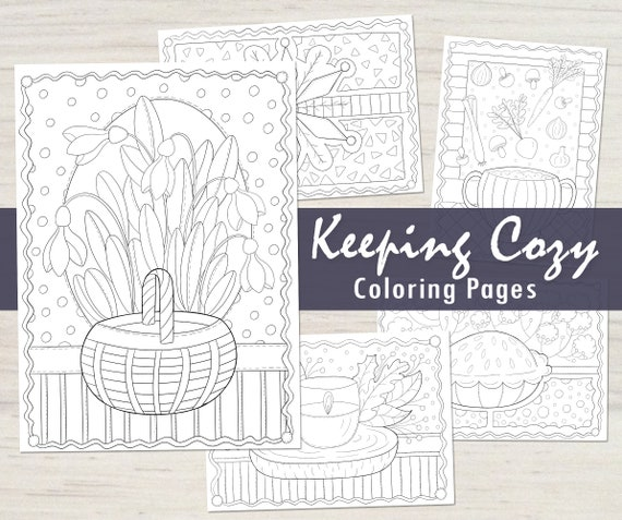 - Keeping Cozy Winter Coloring Pages PDF Mini Coloring Book Etsy